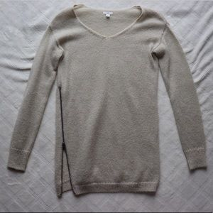 Oatmeal Sweater with Side Zipper